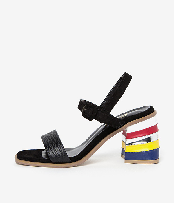 AVA vivid block sandle- Black suede