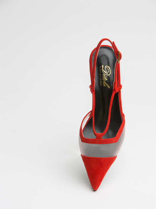 Red pointed toe see-through suede sling back