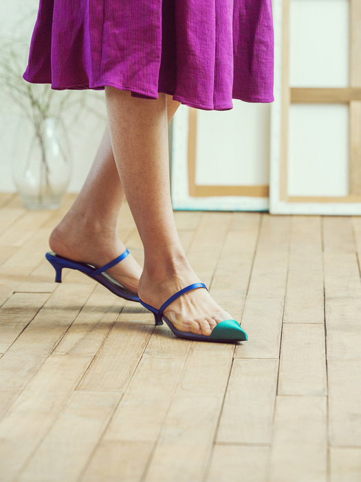 blue green pointed toe two-tone mule