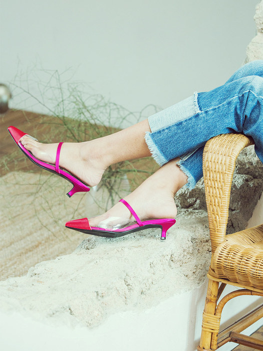 pink red pointed toe two-tone mule