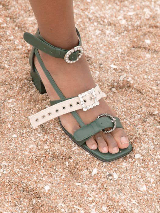 Khaki Michelle three jewelry strap Sandle