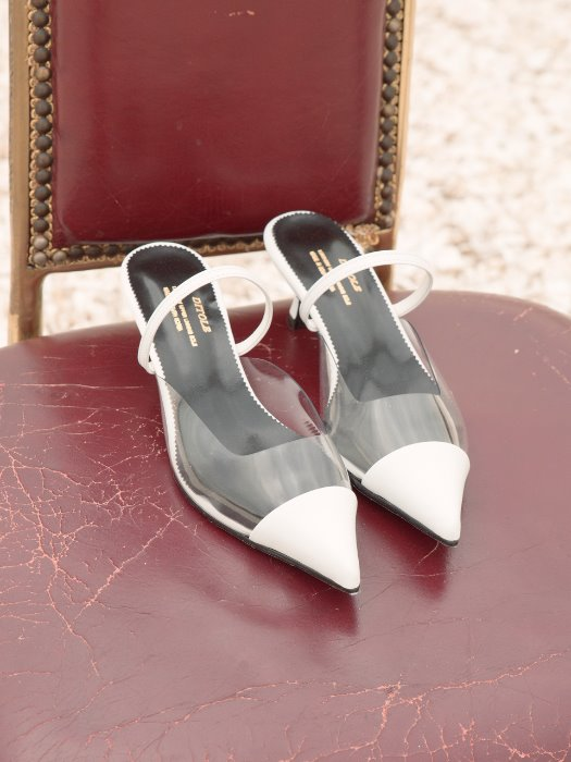 nick white calf leather pointed toe mule