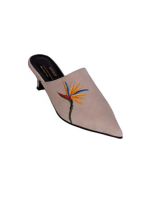 Gloria Mule Beige Birds-Of-Paradise