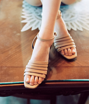 Lily 5 strap Sandle- Beige