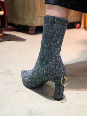 glittered stretch-knit sock boots