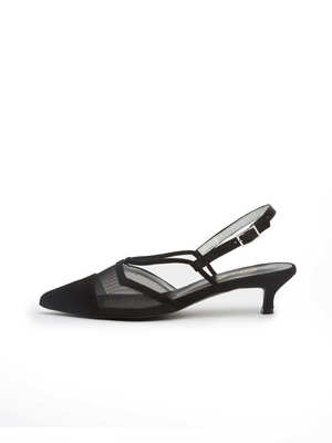 black pointed toe see-through suede sling back
