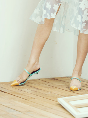 mint yellow pointed toe two-tone mule