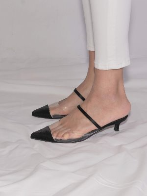 nick black satin pointed toe mule
