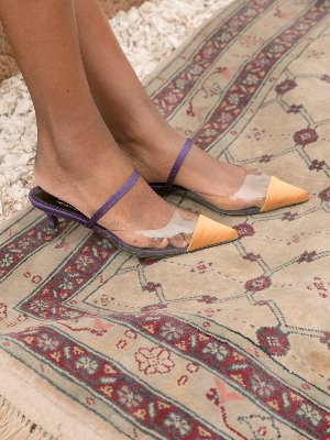 purple mustard satin pointed toe two-tone mule