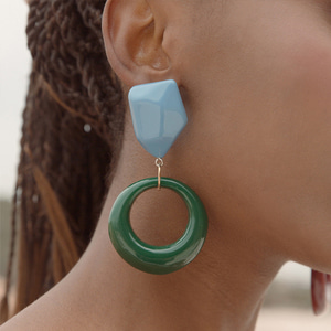 retro color mix acrylic earrings