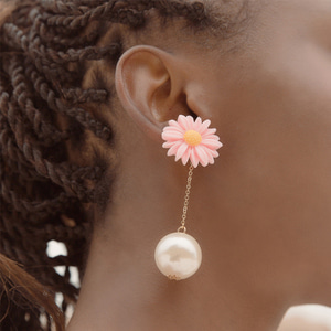 pink daisy flower drop pearl earrings