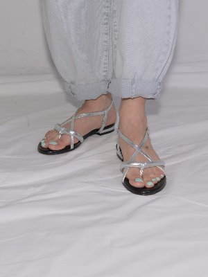 poppy tong sandals Silver